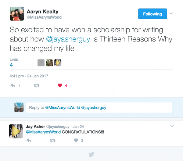 Aaryn Kealty - Hooked to Books Scholarship Winner 2016
