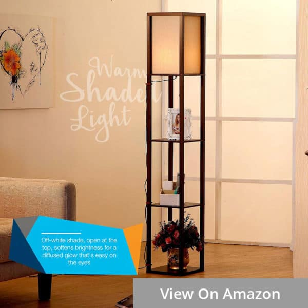 brightech maxwell wooden shelf floor lamp