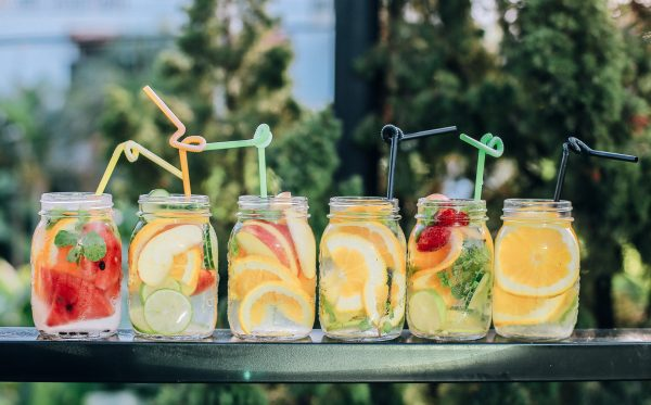 Picture different infused drinks in mason jars