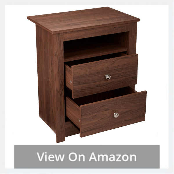 AmazonBasics Classic Multipurpose Wood Night Stand/End Table with 2-drawer