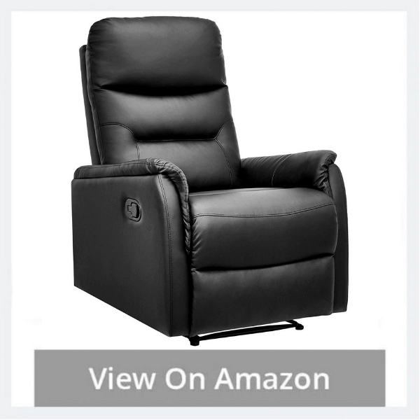 AmazonBasics Modern Faux Leather Pull-Tab Recliner Chair