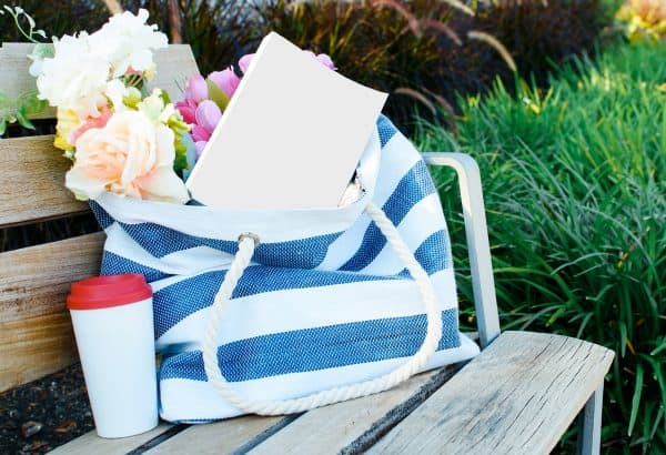 bag with flower and book