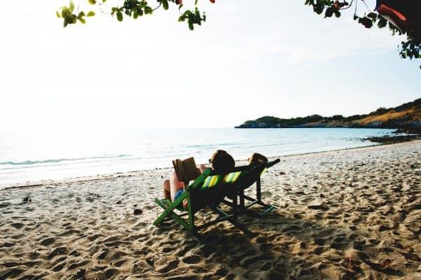 beach chair and book