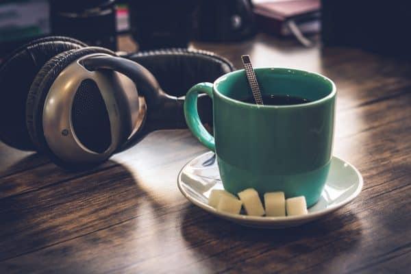 headphone and coffee