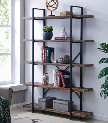 Vintage Industrial Wood and Metal Bookshelves