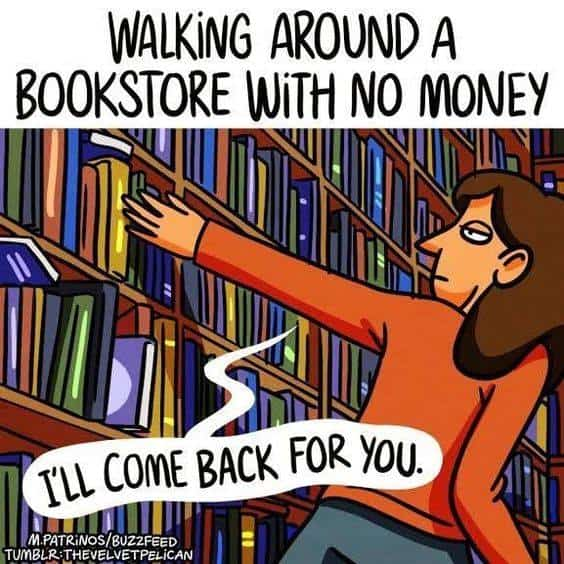 Walking around bookstore with no money