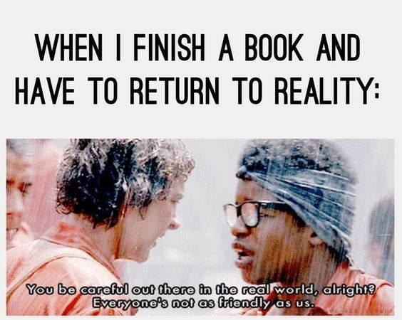 When I finish a book and have to return to reality