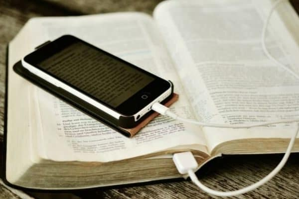 Phone charging on book