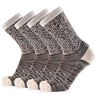 Journow Women's Extra Warm Merino Wool Micro Crew Cushion Socks 4 Pairs