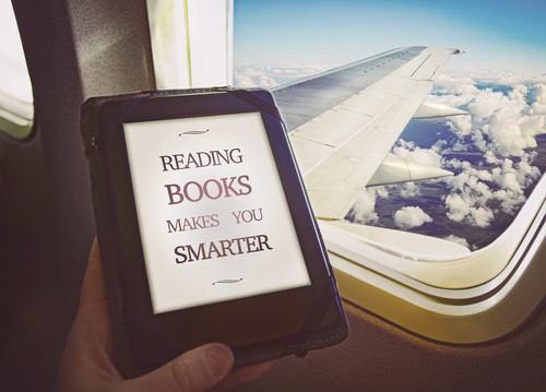 reading on a kindle paperwhite on an airplane
